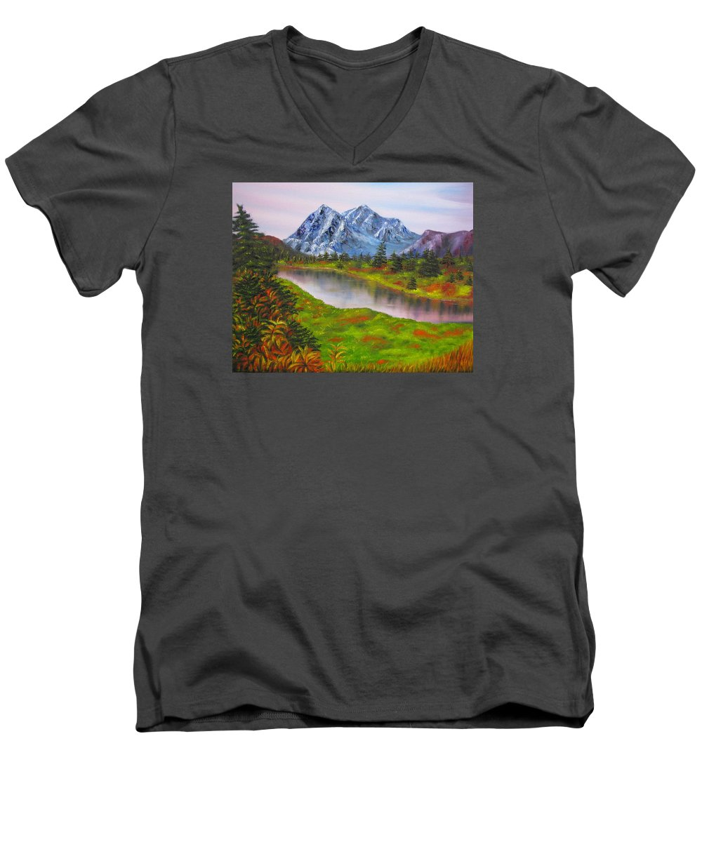 Fall Men's V-Neck T-Shirt featuring the painting Fall In Mountains Landscape Oil Painting by Natalja Picugina