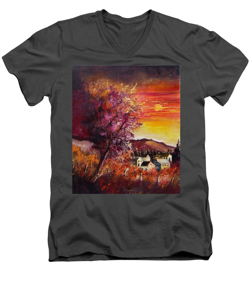 Autumn Men's V-Neck T-Shirt featuring the painting Fall In Villers by Pol Ledent