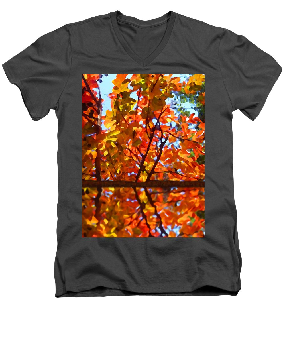 Trees Men's V-Neck T-Shirt featuring the painting Fall Reflextion by Amy Vangsgard