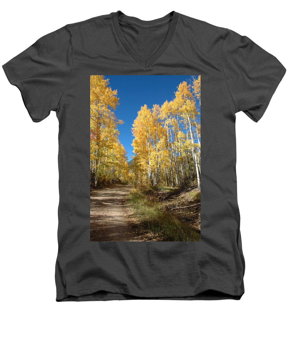 Landscape Men's V-Neck T-Shirt featuring the photograph Fall Road by Jerry McElroy