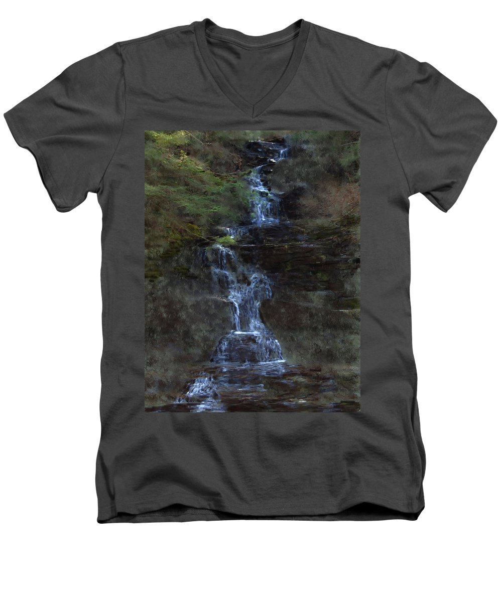Men's V-Neck T-Shirt featuring the photograph Falls At 6 Mile Creek Ithaca N.y. by David Lane