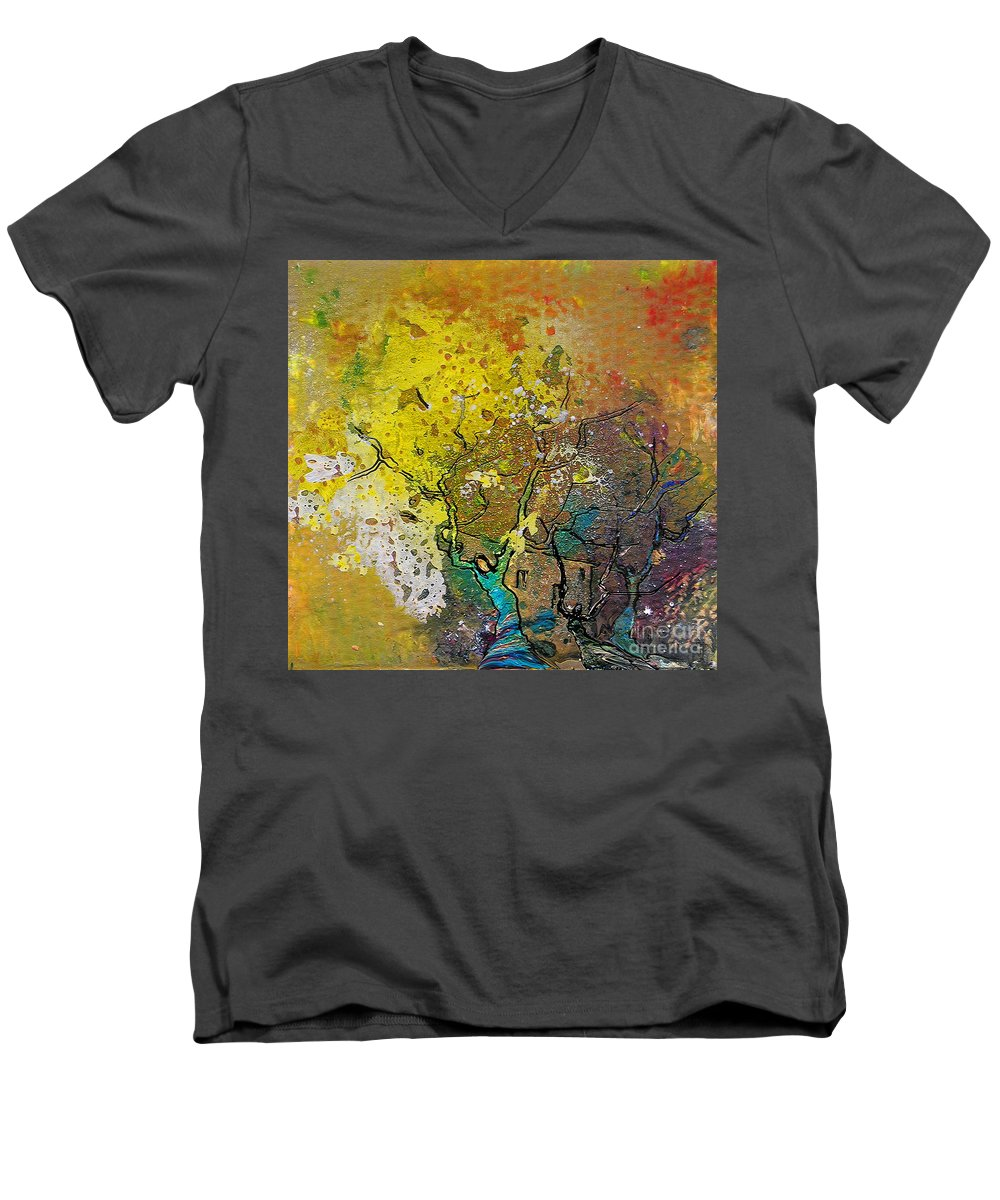 Miki Men's V-Neck T-Shirt featuring the painting Fantaspray 13 1 by Miki De Goodaboom