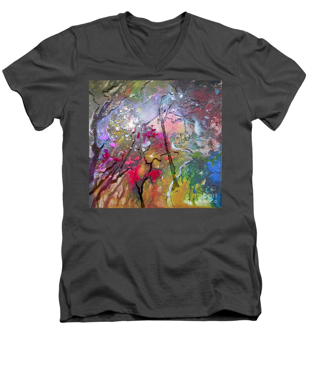 Miki Men's V-Neck T-Shirt featuring the painting Fantaspray 19 1 by Miki De Goodaboom