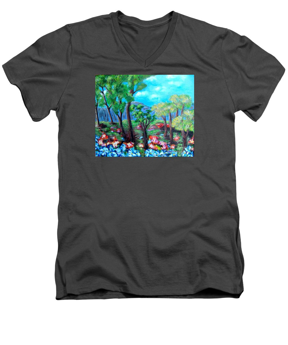Fantasy Men's V-Neck T-Shirt featuring the painting Fantasy Forest by Laurie Morgan