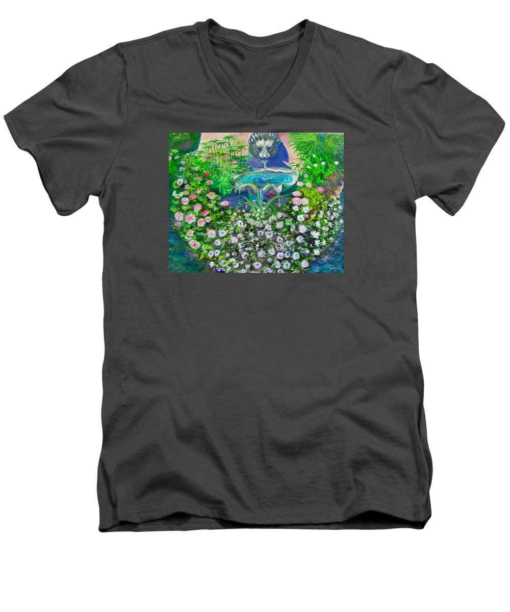 Fountain Men's V-Neck T-Shirt featuring the painting Fantasy Fountain by Michael Durst