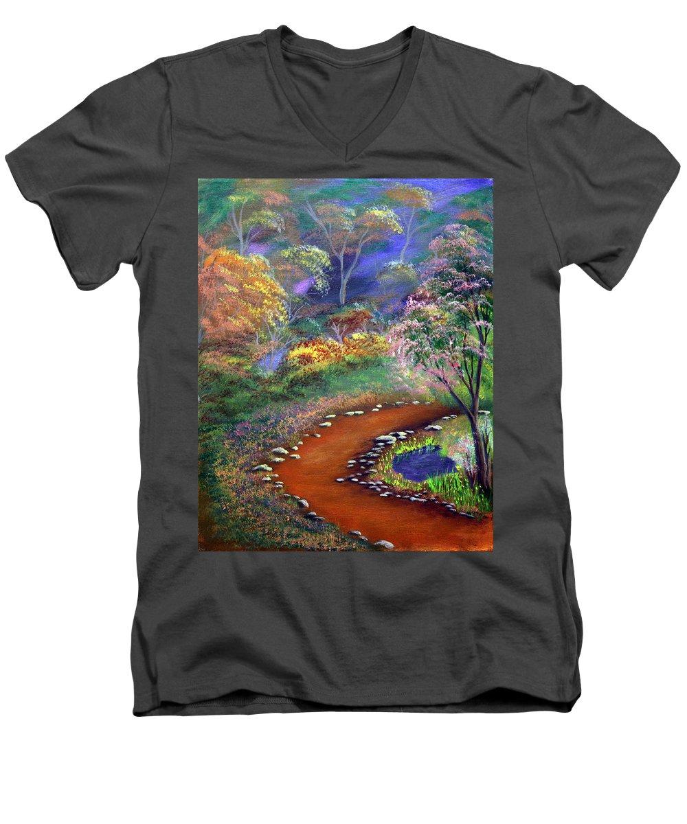 Dawn Blair Men's V-Neck T-Shirt featuring the painting Fantasy Path by Dawn Blair