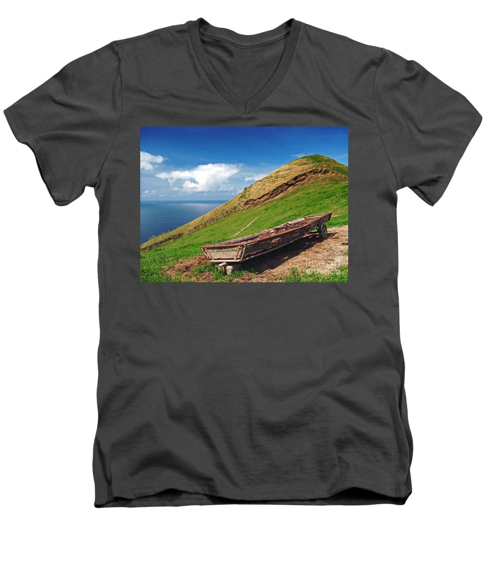 Europe Men's V-Neck T-Shirt featuring the photograph Farming In Azores Islands by Gaspar Avila