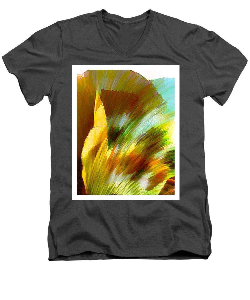 Landscape Digital Art Watercolor Water Color Mixed Media Men's V-Neck T-Shirt featuring the digital art Feather by Anil Nene