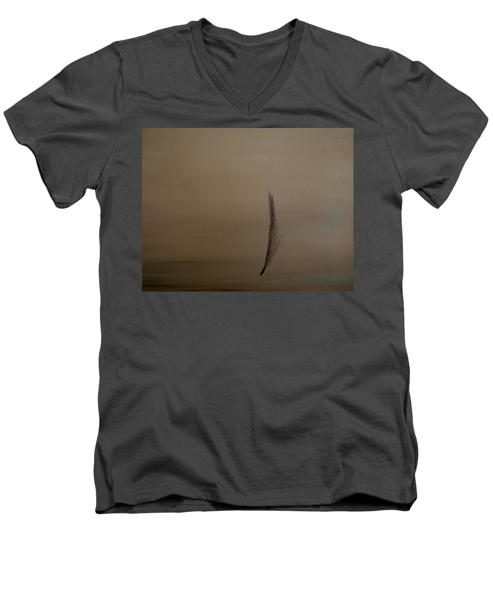 Feather Men's V-Neck T-Shirt featuring the painting Feather by Jack Diamond