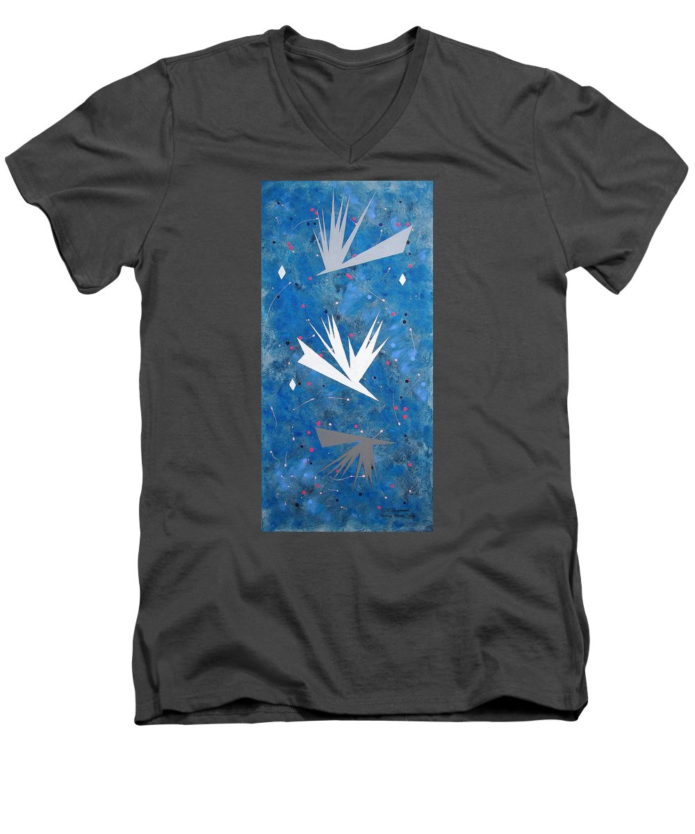 Birds And Diamond Stars Men's V-Neck T-Shirt featuring the painting Feeding Frenzy by J R Seymour