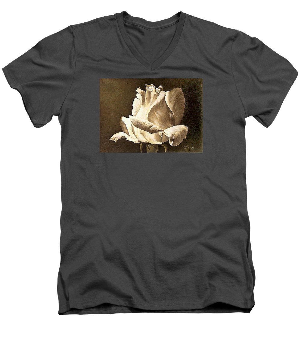 Rose Flower Men's V-Neck T-Shirt featuring the painting Feeling The Light by Natalia Tejera