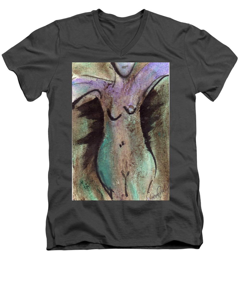 Nude Men's V-Neck T-Shirt featuring the painting Female Nude Torso 1 by Wayne Potrafka