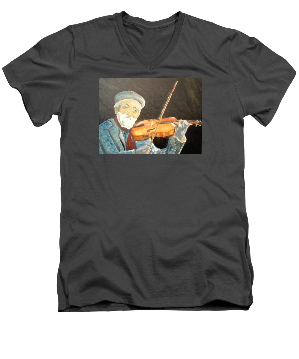Hungry He Plays For His Supper Men's V-Neck T-Shirt featuring the painting Fiddler Blue by J Bauer