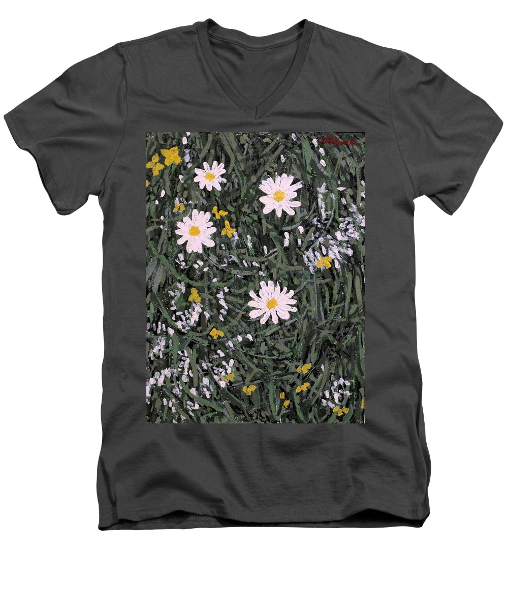 Daisies Men's V-Neck T-Shirt featuring the painting Field Daisies by Ian MacDonald