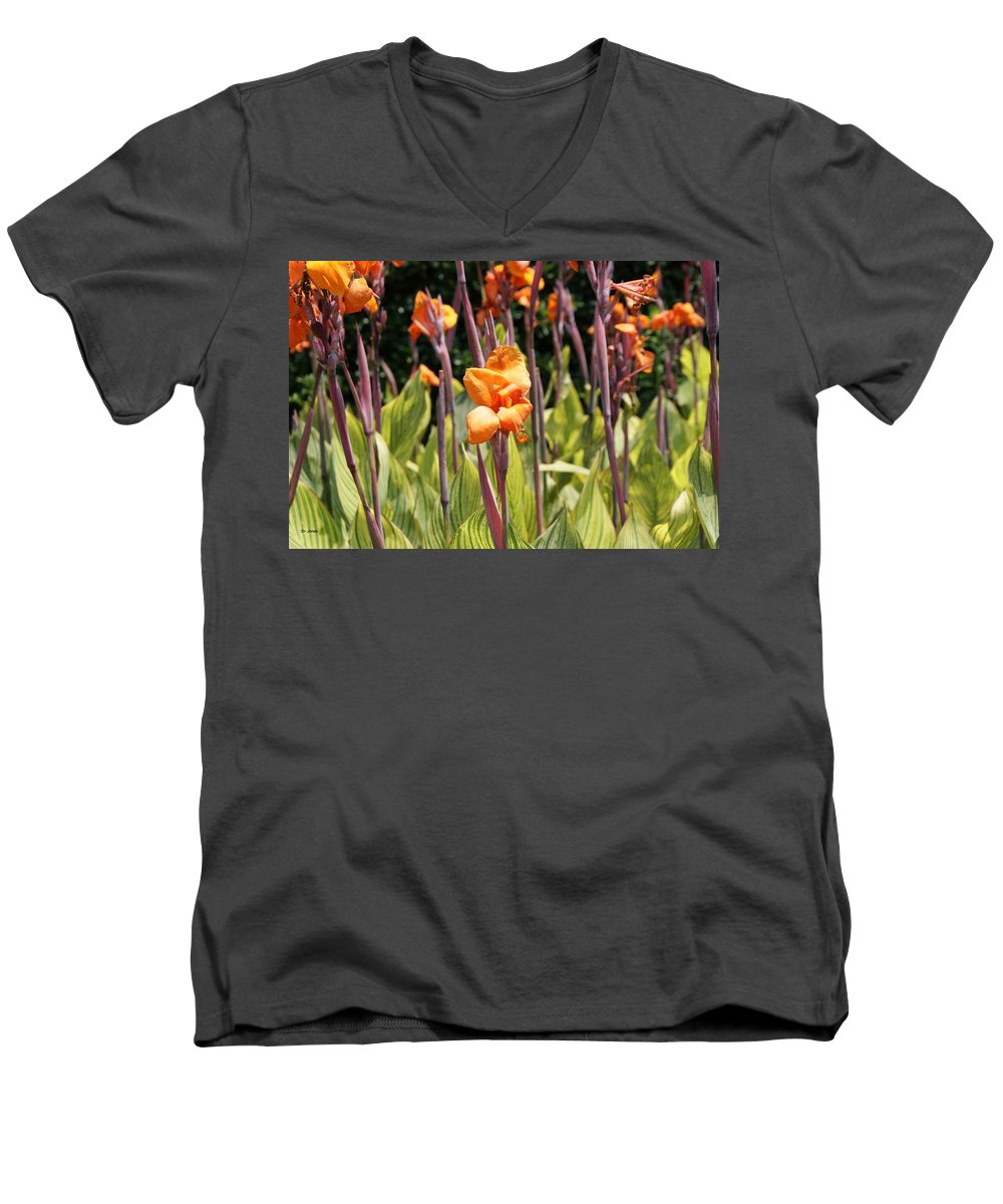 Floral Men's V-Neck T-Shirt featuring the photograph Field For Iris by Shelley Jones