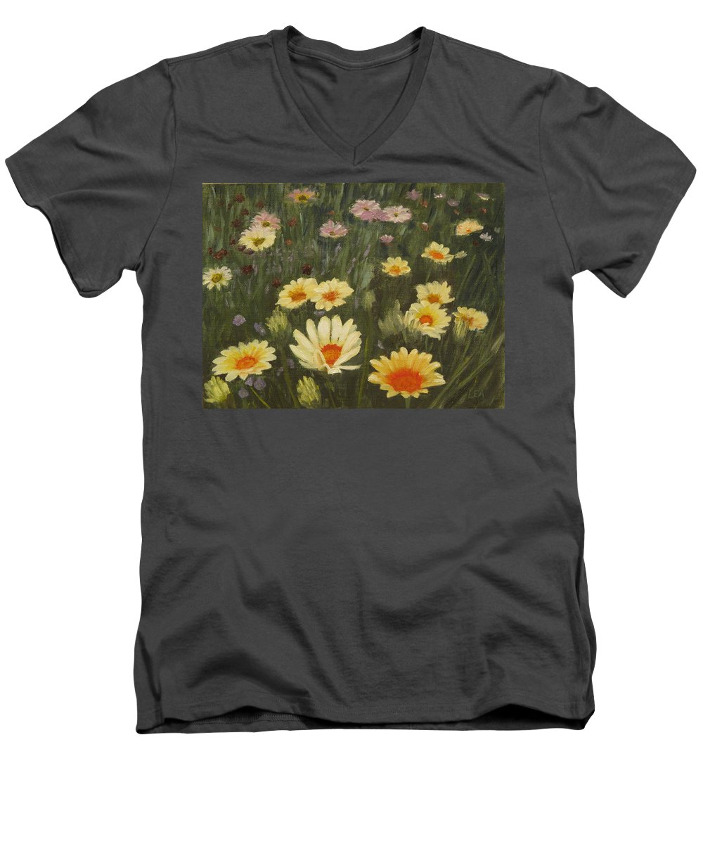 Flower Men's V-Neck T-Shirt featuring the painting Field Of Flowers by Lea Novak