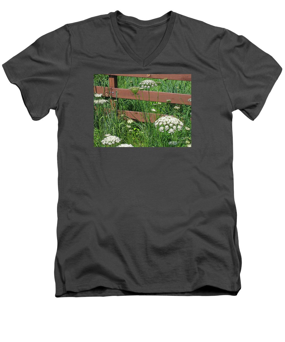 Flower Men's V-Neck T-Shirt featuring the photograph Field Of Lace by Ann Horn