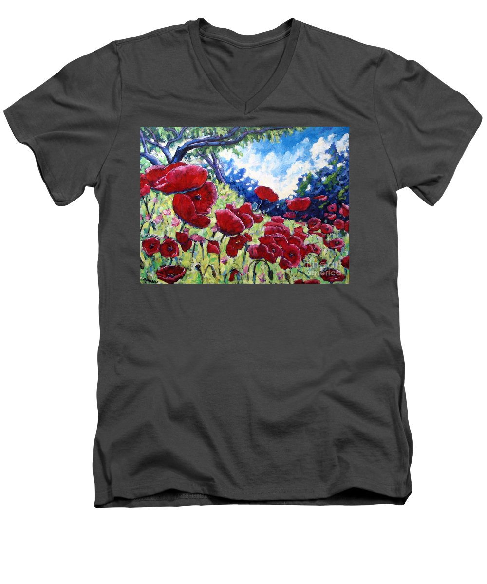 Poppies Men's V-Neck T-Shirt featuring the painting Field Of Poppies 02 by Richard T Pranke