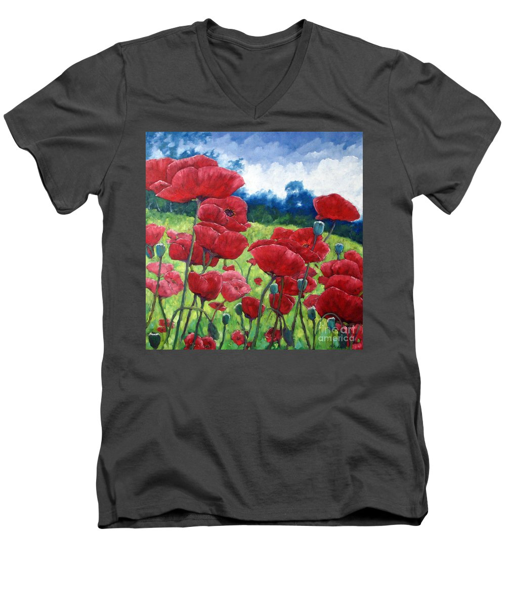 Poppies Men's V-Neck T-Shirt featuring the painting Field Of Poppies by Richard T Pranke