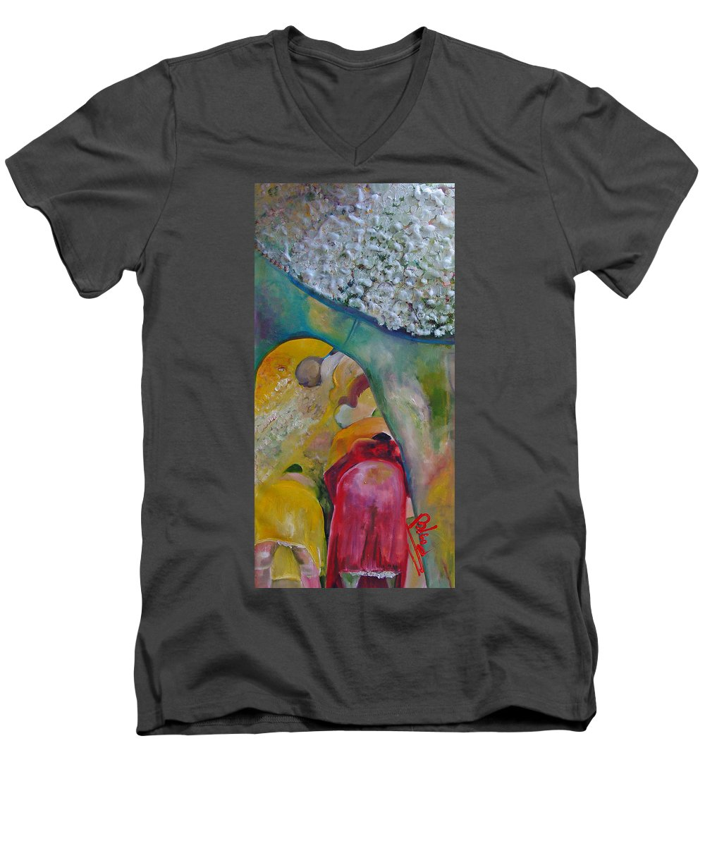 Cotton Men's V-Neck T-Shirt featuring the painting Fields Of Cotton by Peggy Blood