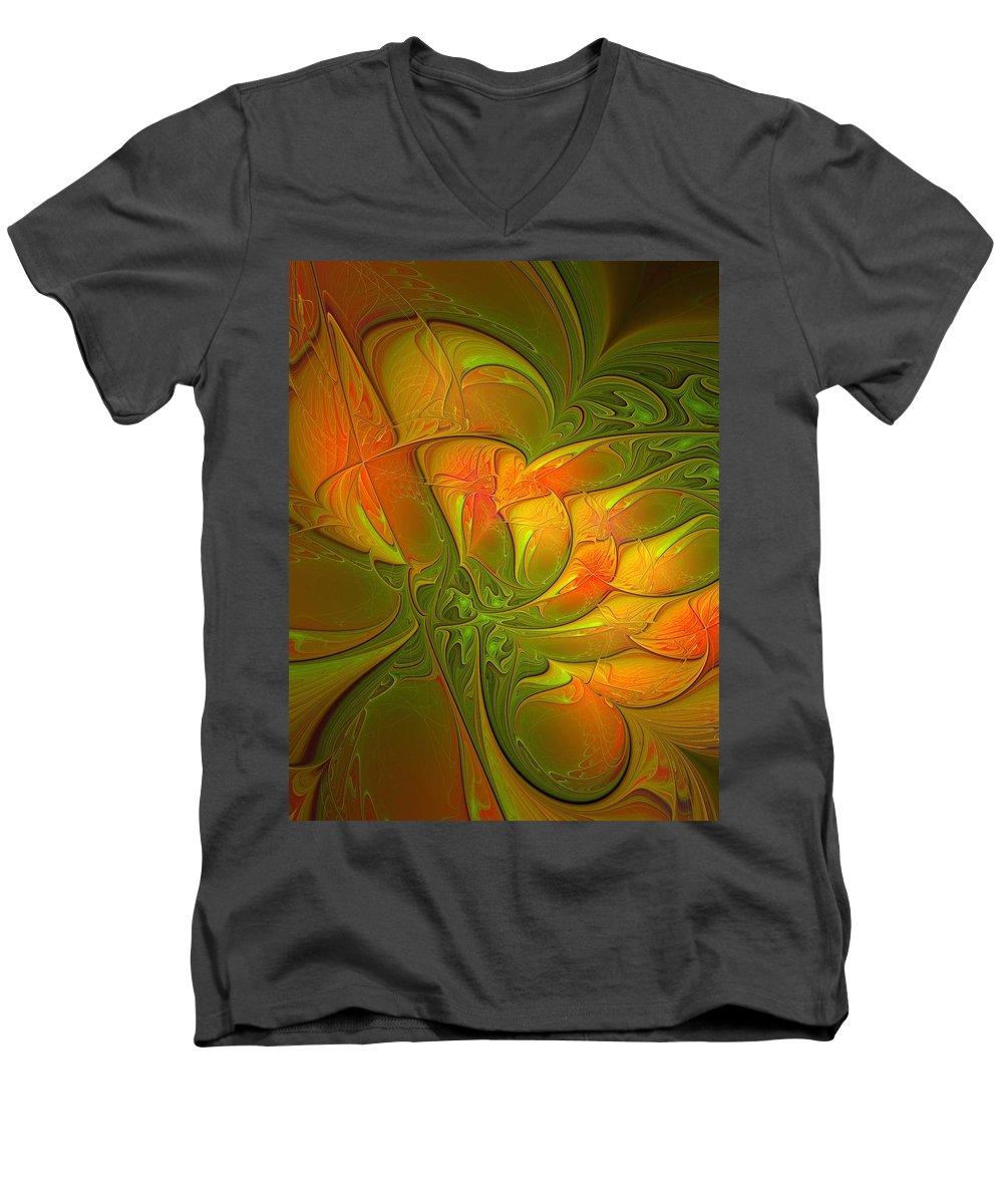 Digital Art Men's V-Neck T-Shirt featuring the digital art Fiery Glow by Amanda Moore