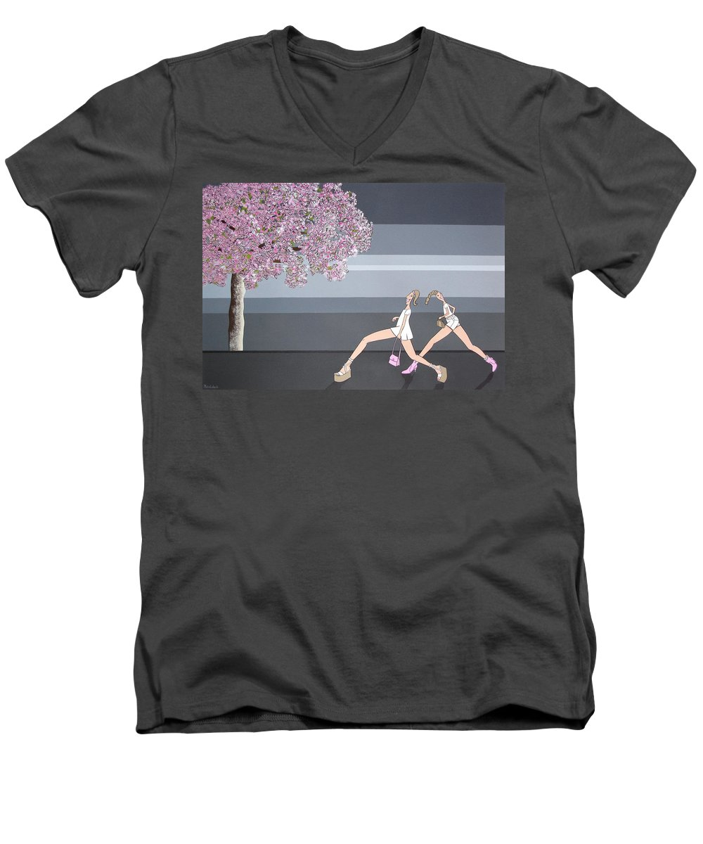 Girls Men's V-Neck T-Shirt featuring the painting Fifteen by Patricia Van Lubeck