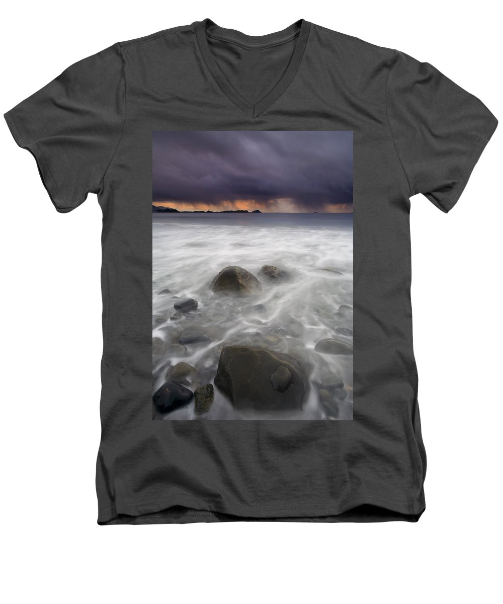 Storm Men's V-Neck T-Shirt featuring the photograph Fingers Of The Storm by Mike Dawson