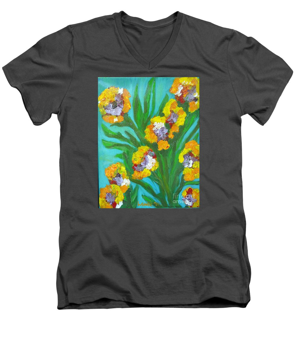 Flower Men's V-Neck T-Shirt featuring the painting Fire Blossoms by Laurie Morgan