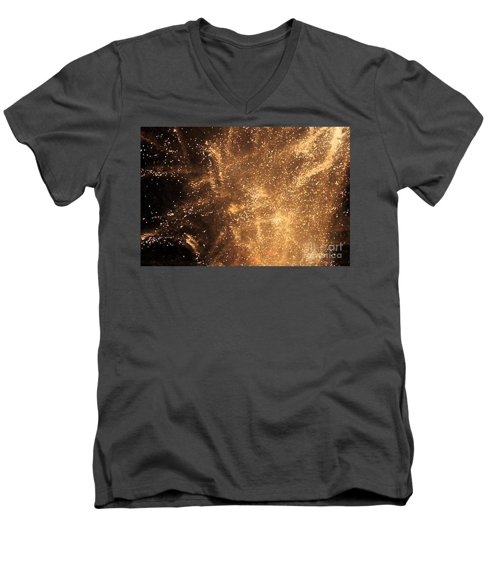 Fireworks Men's V-Neck T-Shirt featuring the photograph Fired Up by Debbi Granruth