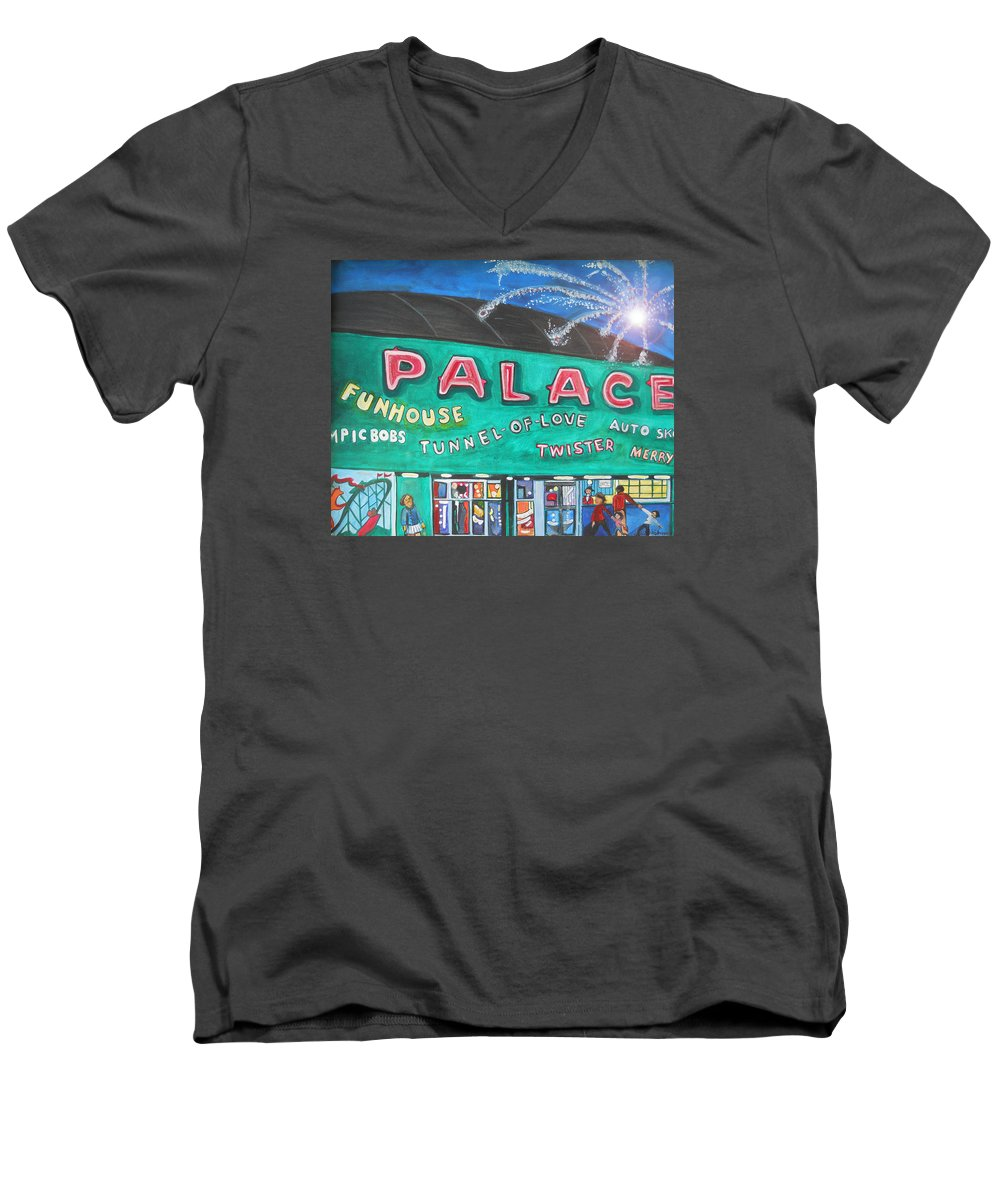 Asbury Park Art Men's V-Neck T-Shirt featuring the painting Fireworks At The Palace by Patricia Arroyo