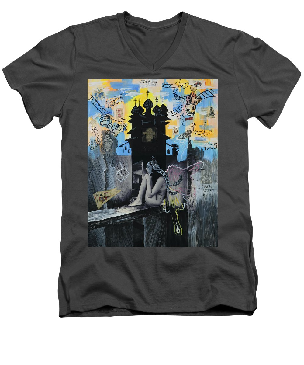 Surreal Men's V-Neck T-Shirt featuring the painting First Butterfly by Yelena Tylkina