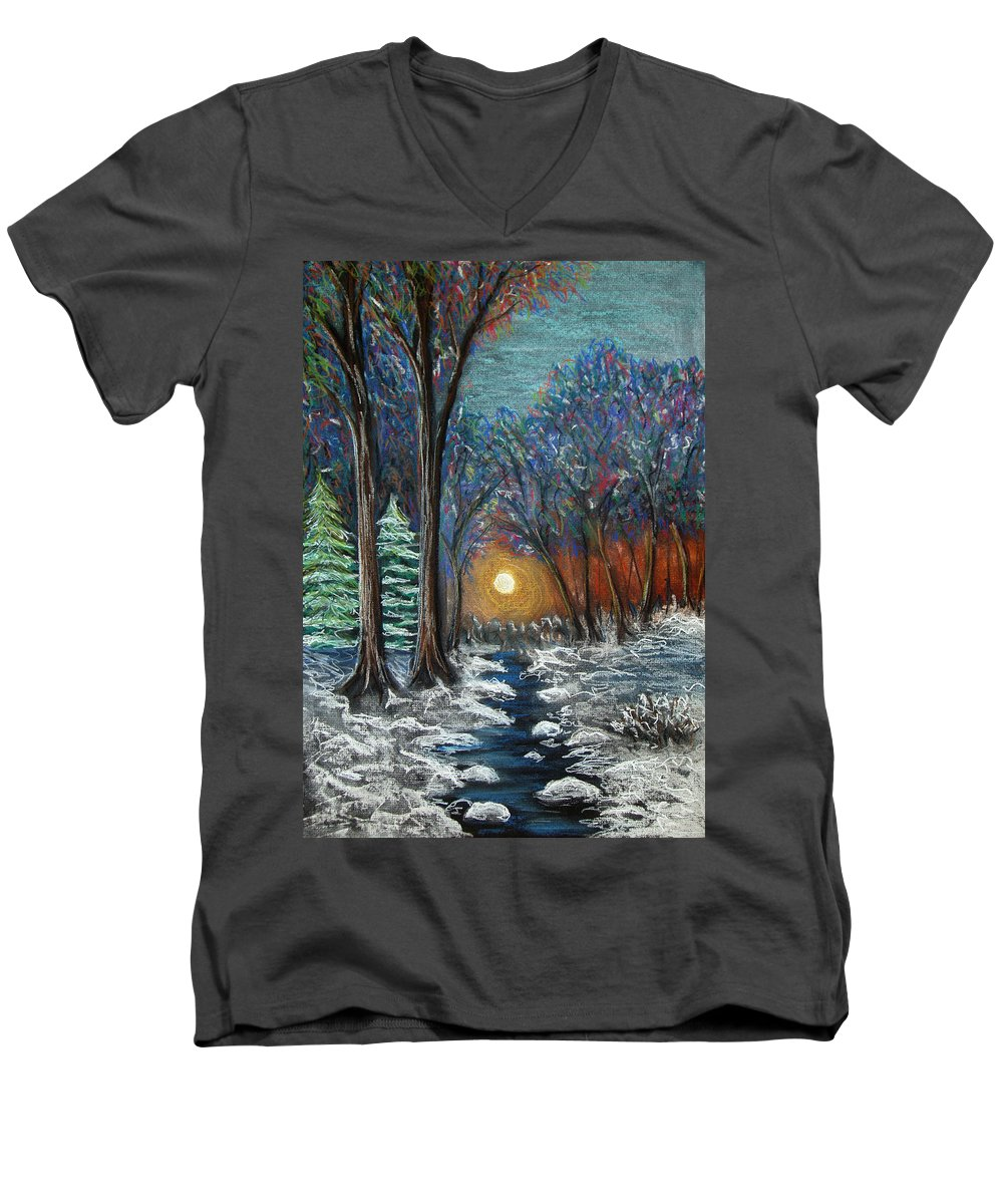Snow Men's V-Neck T-Shirt featuring the pastel First Snow by Nancy Mueller
