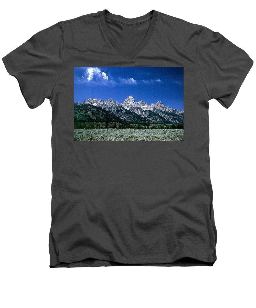 Mountains Men's V-Neck T-Shirt featuring the photograph First View Of Tetons by Kathy McClure