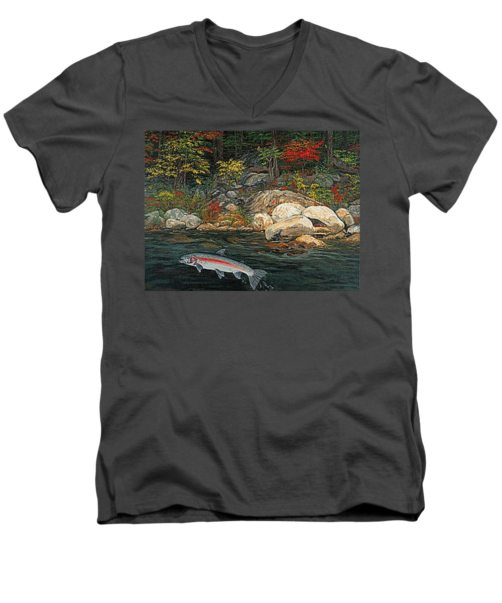 Art Men's V-Neck T-Shirt featuring the painting Fish Art Jumping Silver Steelhead Trout Art Nature Artwork Giclee Wildlife Underwater Wall Art Work by Baslee Troutman