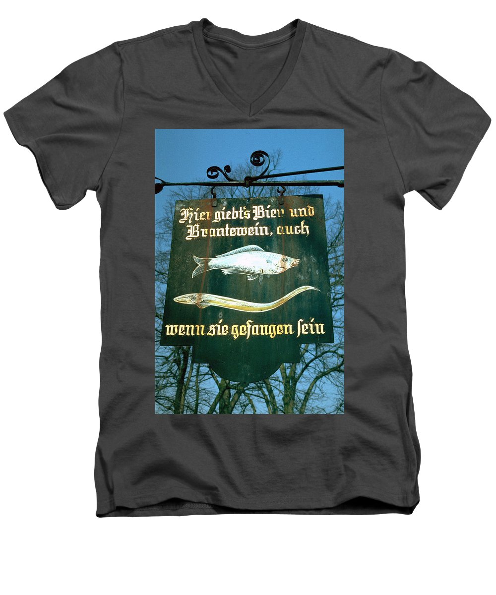Store Sign Men's V-Neck T-Shirt featuring the photograph Fish by Flavia Westerwelle