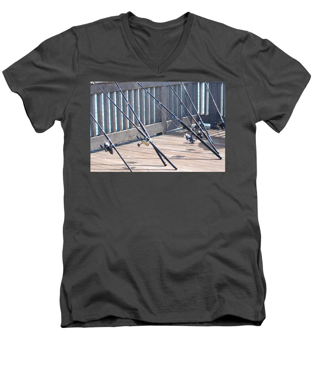 Pier Men's V-Neck T-Shirt featuring the photograph Fishing Rods by Rob Hans