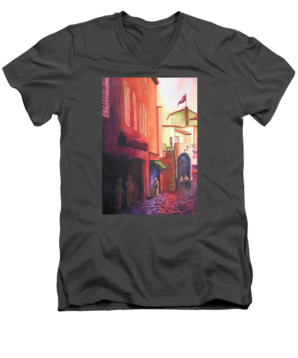 Europe Men's V-Neck T-Shirt featuring the painting Flag Over St. Tropez by Karen Stark
