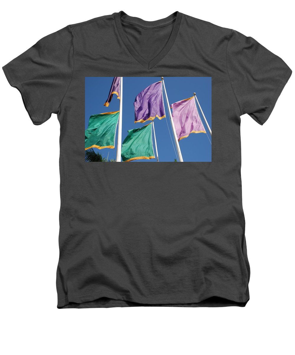 Flags Men's V-Neck T-Shirt featuring the photograph Flags by Rob Hans