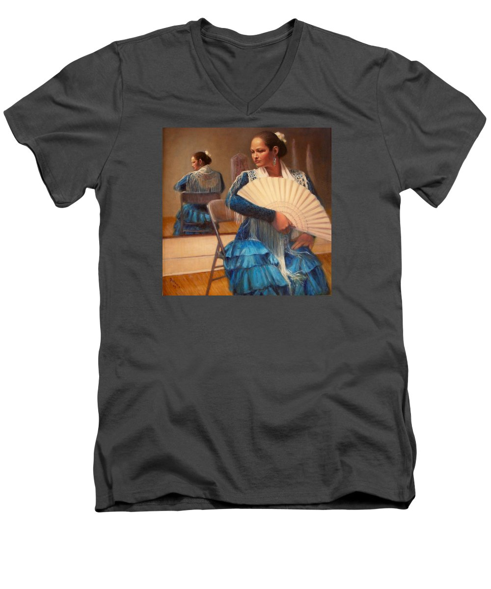 Realism Men's V-Neck T-Shirt featuring the painting Flamenco 1 by Donelli DiMaria