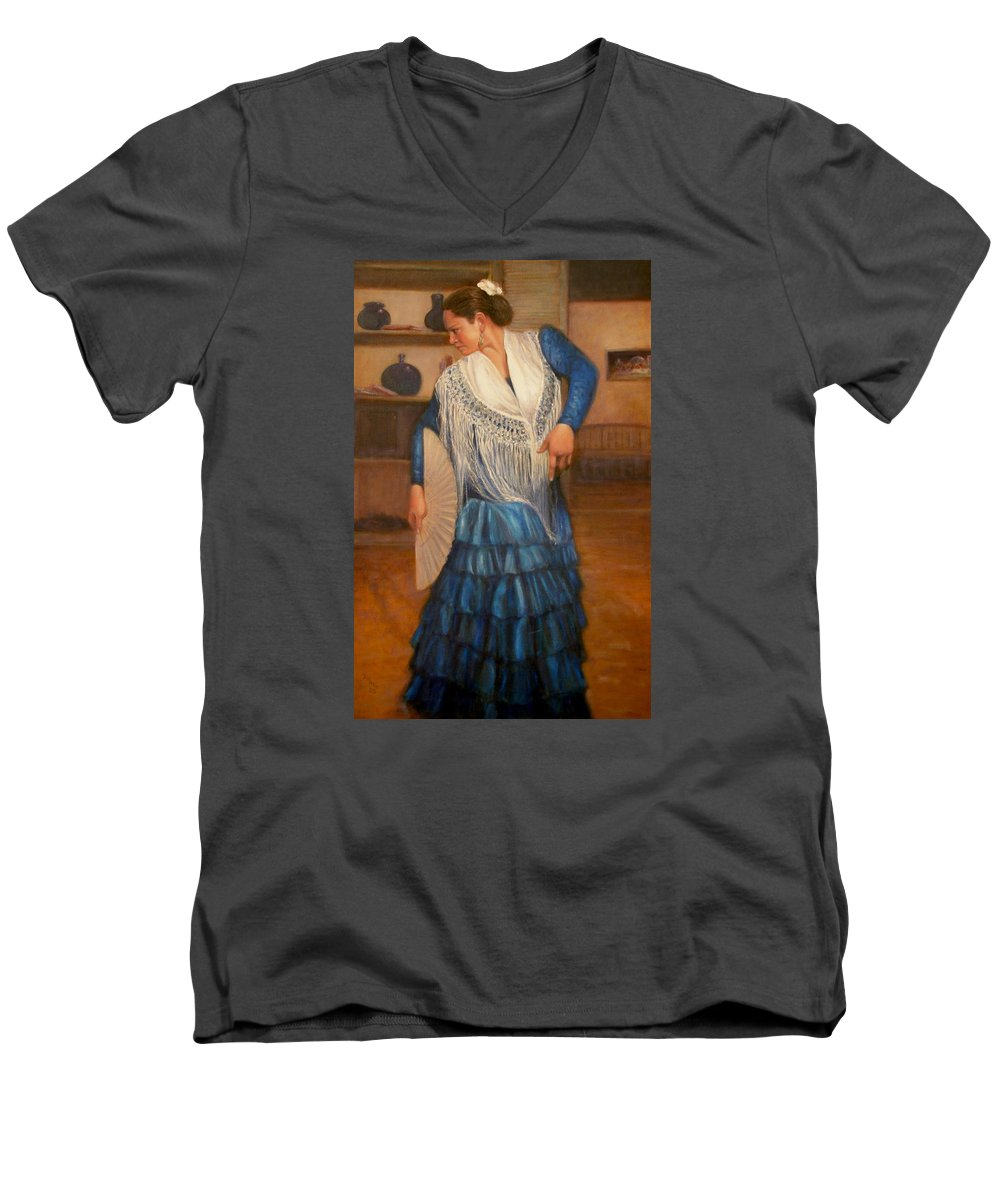 Realism Men's V-Neck T-Shirt featuring the painting Flamenco 2 by Donelli DiMaria