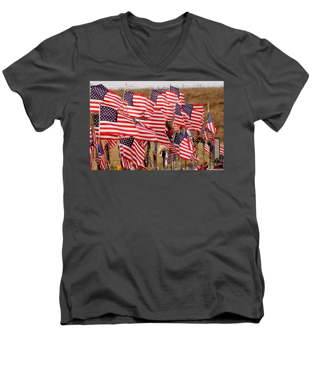 Flags Men's V-Neck T-Shirt featuring the photograph Flight 93 Flags by Jean Macaluso