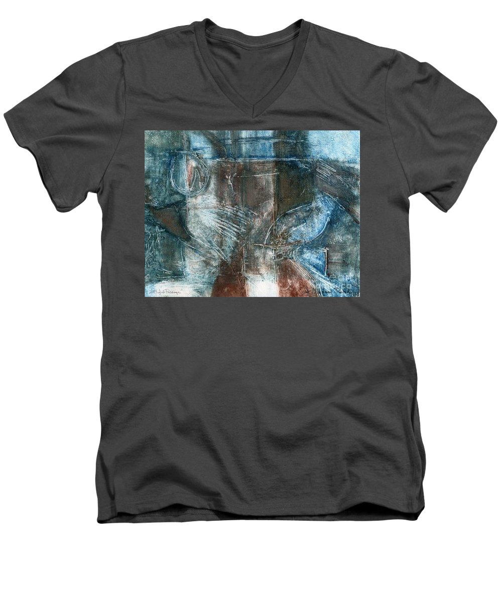 Flight Men's V-Neck T-Shirt featuring the drawing Flight Passage by Kerryn Madsen- Pietsch