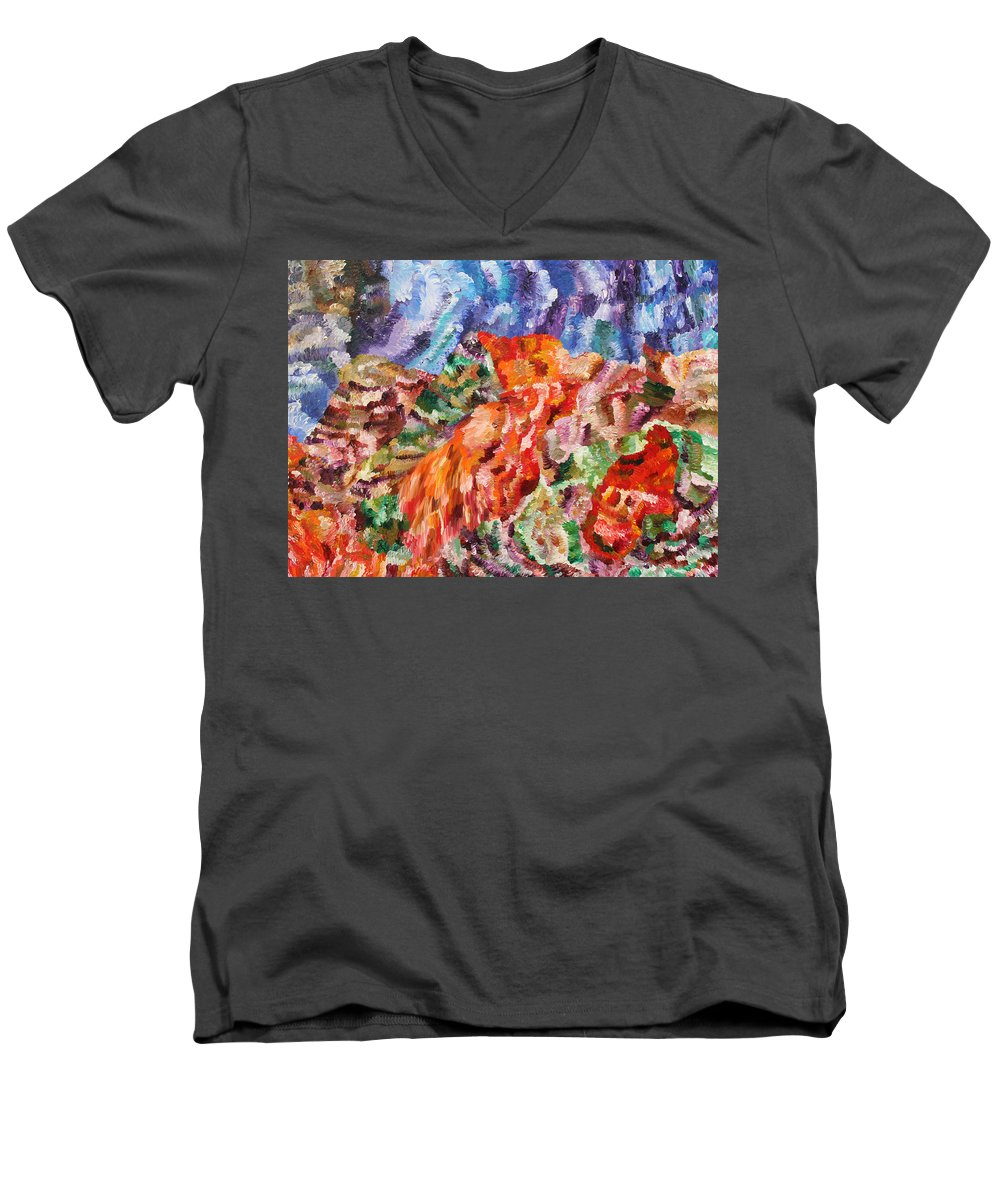 Fusionart Men's V-Neck T-Shirt featuring the painting Flock by Ralph White