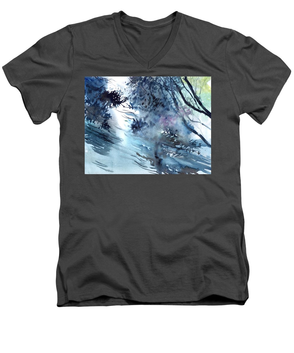 Floods Men's V-Neck T-Shirt featuring the painting Flooding by Anil Nene