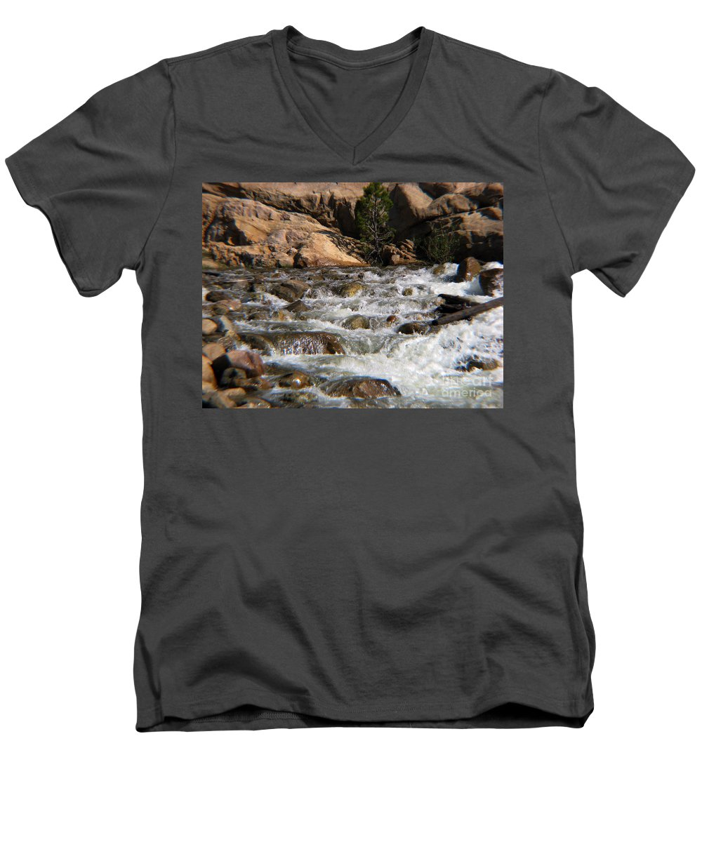 River Men's V-Neck T-Shirt featuring the photograph Flow by Amanda Barcon