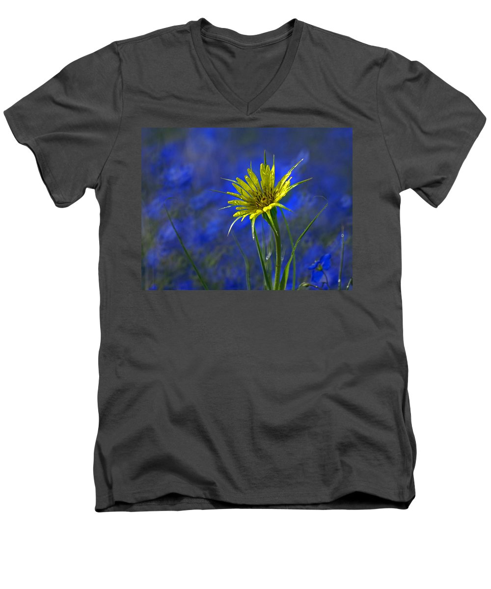 Flower Men's V-Neck T-Shirt featuring the photograph Flower And Flax by Heather Coen