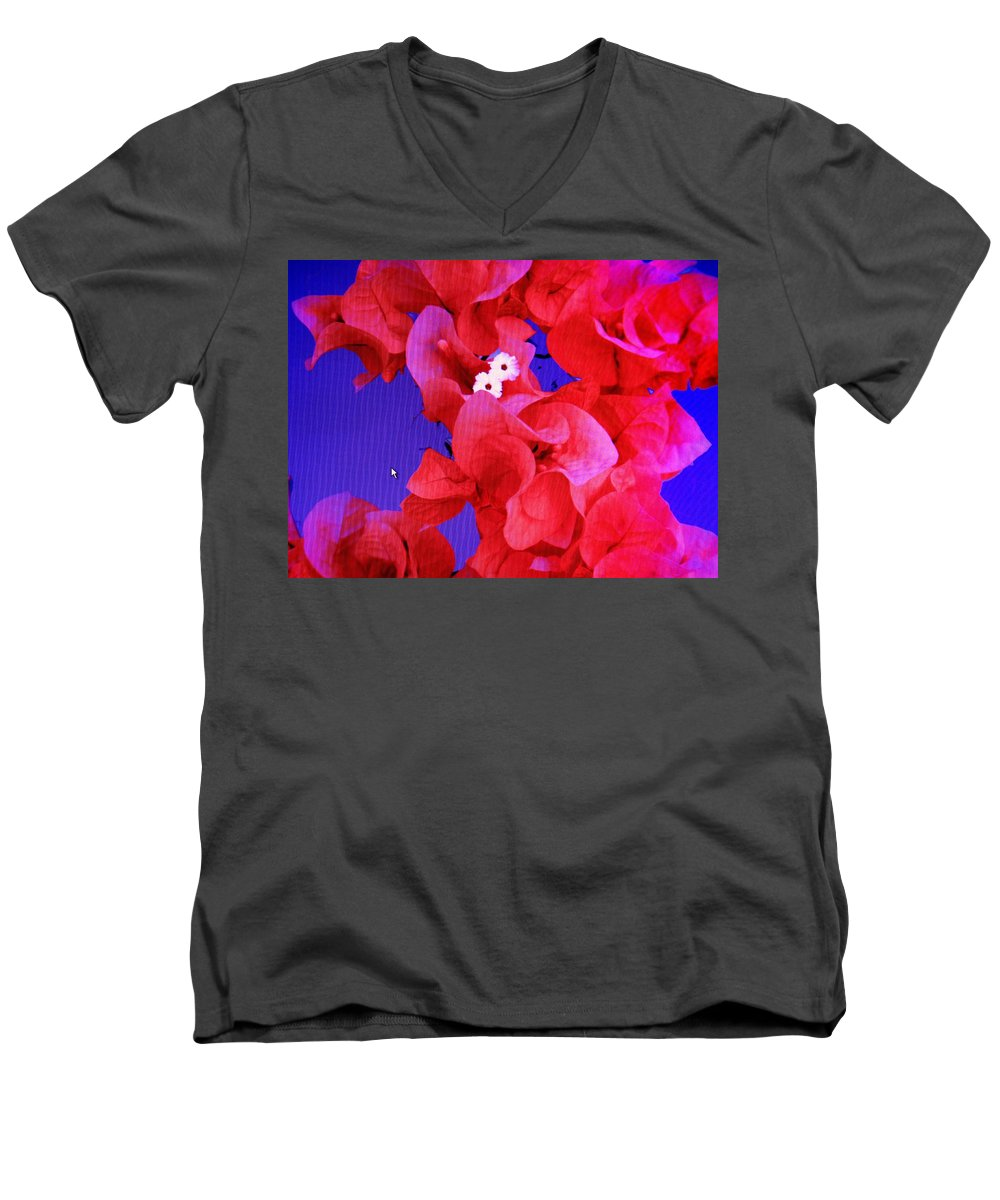Red Men's V-Neck T-Shirt featuring the photograph Flower Fantasy by Ian MacDonald