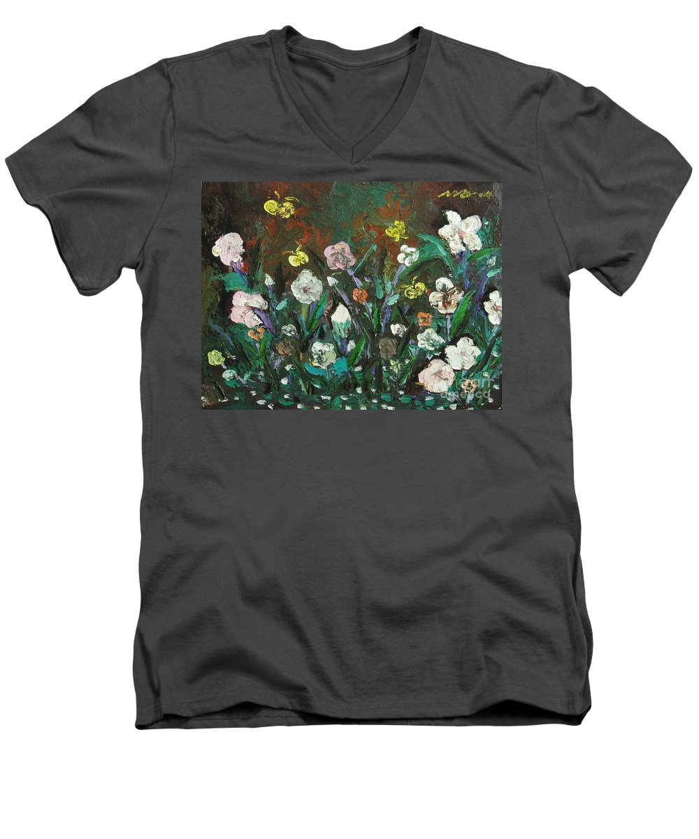 Abstract Paintings Men's V-Neck T-Shirt featuring the painting Flower Garden by Seon-Jeong Kim