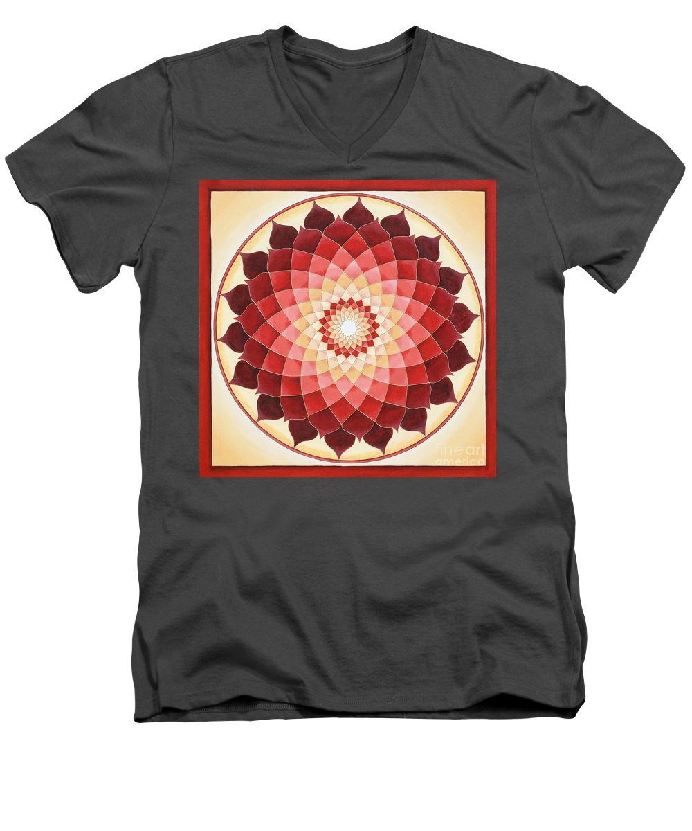 Mandala Men's V-Neck T-Shirt featuring the painting Flower Of Life by Charlotte Backman