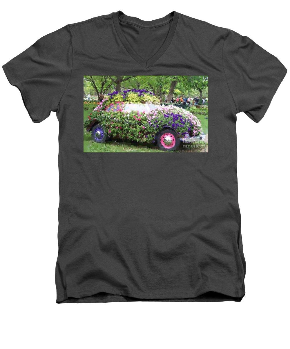 Cars Men's V-Neck T-Shirt featuring the photograph Flower Power by Debbi Granruth